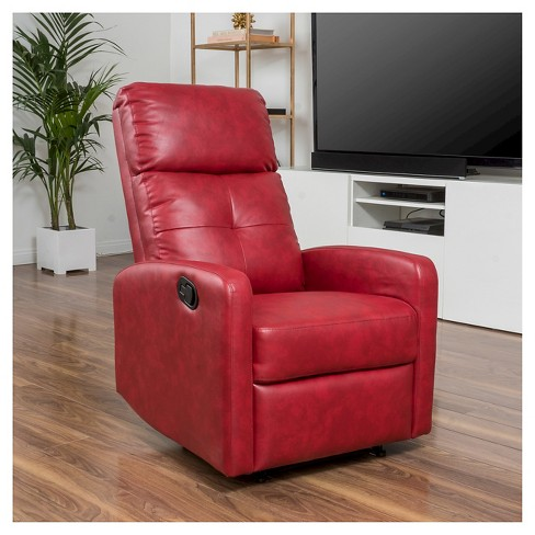Samedi Faux Leather Recliner Club Chair Red Christopher Knight Home Target