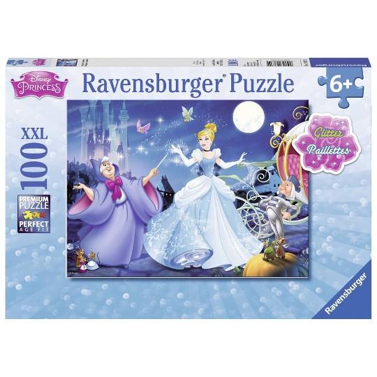 Ravensburger Adorable Cinderella Glitter Puzzle 100pc, Kids Unisex image number null