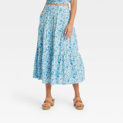 Women's Tiered Midi Skirt - Universal Thread™ Floral