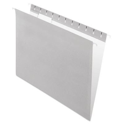 Pendaflex Essentials Colored Hanging Folders 1/5 Tab Letter Gray 25/Box 81604