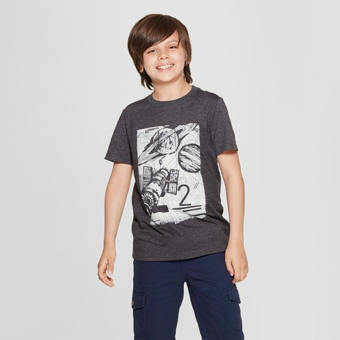 Boys' Short Sleeve Space Graphic T-Shirt - Cat & Jack™ Black - image 1 of 3