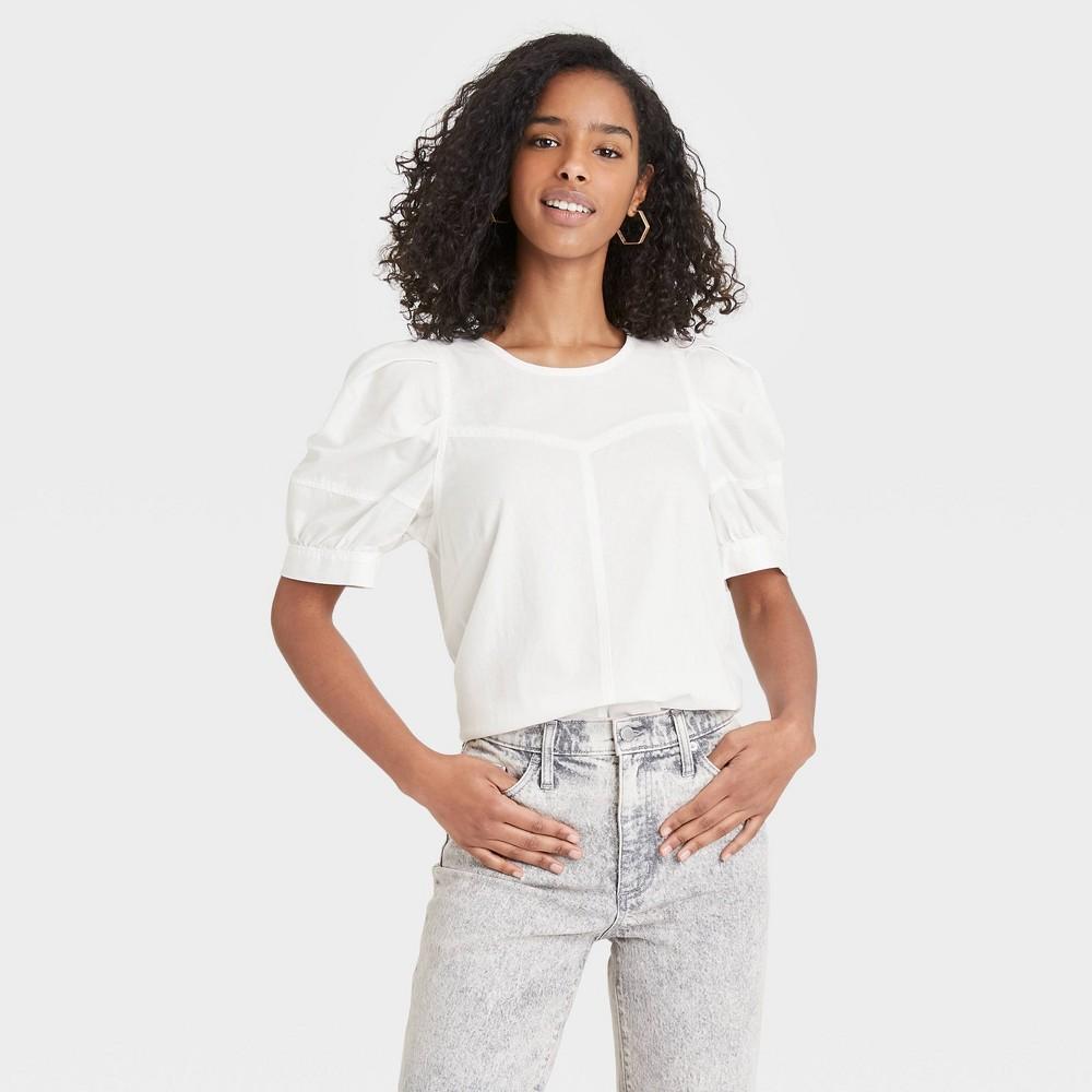 Women 39 S Puff Short Sleeve Blouse Universal Thread 8482 White M