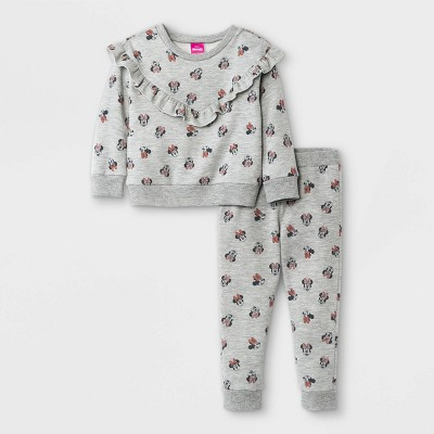 Toddler Girls' 2pc Minnie Mouse Fleece Pullover and Joggers Set - Gray