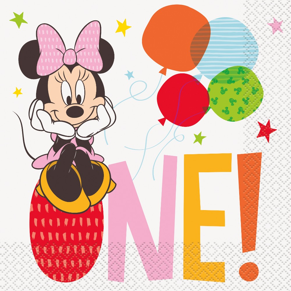 Image of Minnie Mouse 1st Birthday Lunch Napkin, Multi-Colored