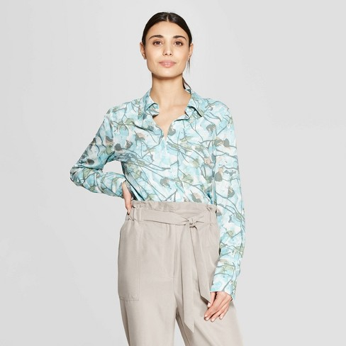 919e2714 Women's Floral Print Long Sleeve Collared Front Button-Down Blouse -  Prologue™ Blue