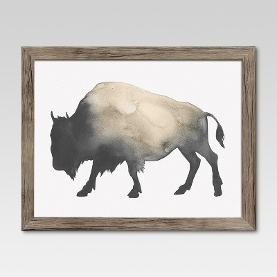 Framed Watercolor Buffalo 14 x11  - Threshold™