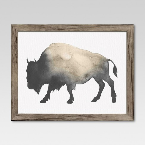 "Framed Watercolor Buffalo 14""x11"" - Threshold™ - image 1 of 7"