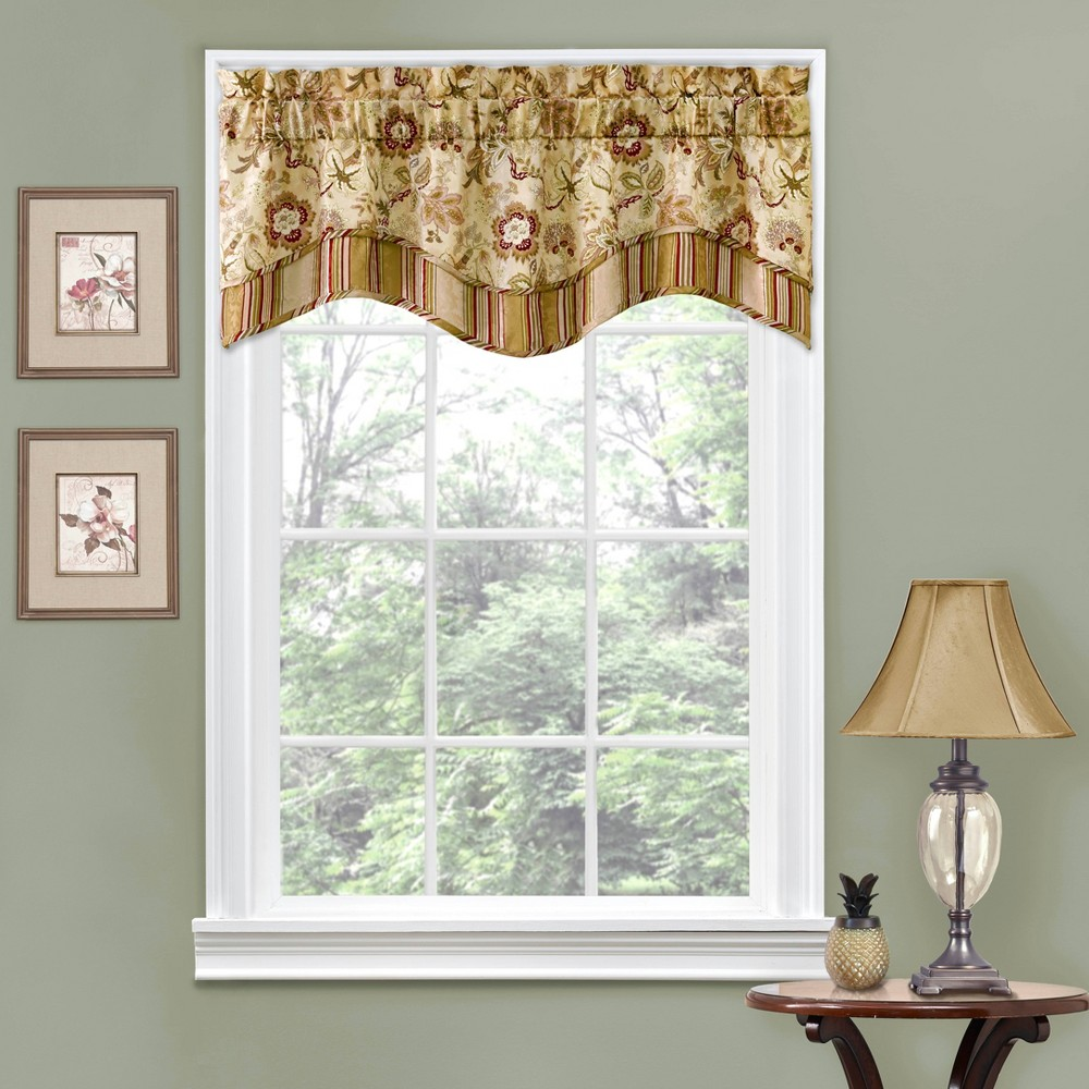 "Image of ""16""""x52"""" Floral Window Valance Tan - Traditions by Waverly"""