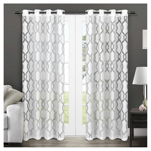 Rio Sheer Window Curtain Panel Pair White - Exclusive Home™ - image 1 of 3