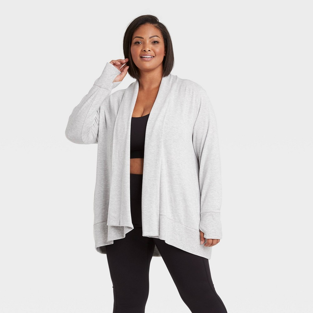 Women 39 S Cozy Lightweight Plus Size Fleece Cardigan All In Motion 8482 Heather Gray 1x