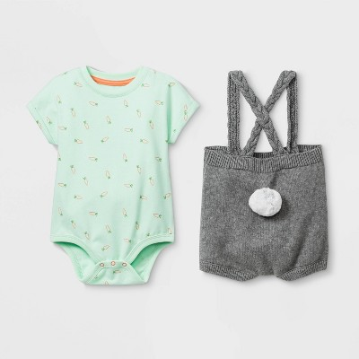 Baby Easter Bunny Top & Bottom Set - Cat & Jack™ Mint/Gray 3-6M