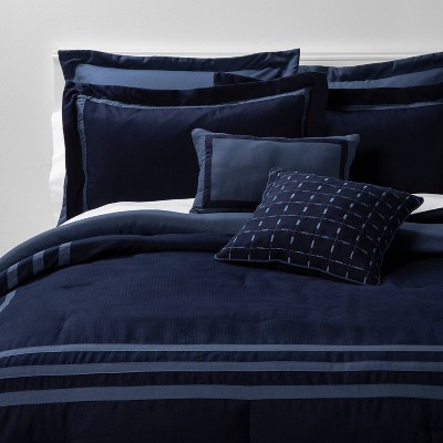 Queen 8pc Sanford Comforter Set Navy/Blue - Threshold™