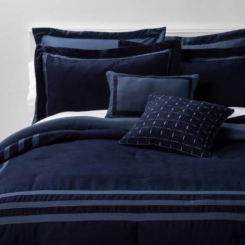 King 8pc Sanford Comforter Set Navy/Blue   Threshold™ : Target