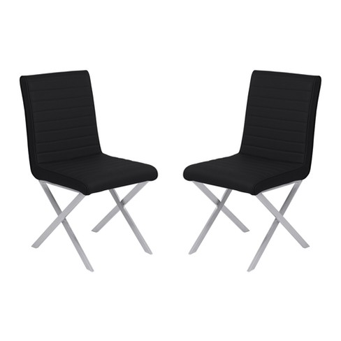 Tempe Contemporary Dining Chair Set of 2 in Faux Leather with Brushed Stainless Steel Finish - Armen Living - image 1 of 8