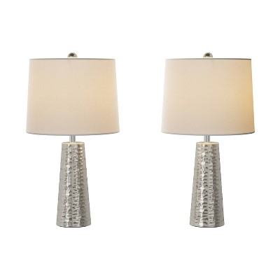 Table Lamps-Set of 2 Hammered Flared Drum Lights (Includes LED Light Bulb)