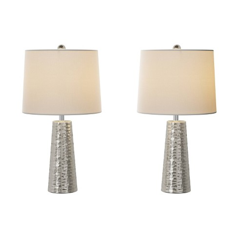 Table Lamps-Set of 2 Hammered Flared Drum Lights (Includes LED Light Bulb) - image 1 of 4