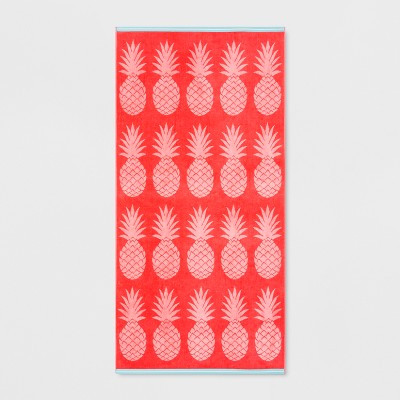 Pineapple Beach Towel XL Pink Coral - Sun Squad™