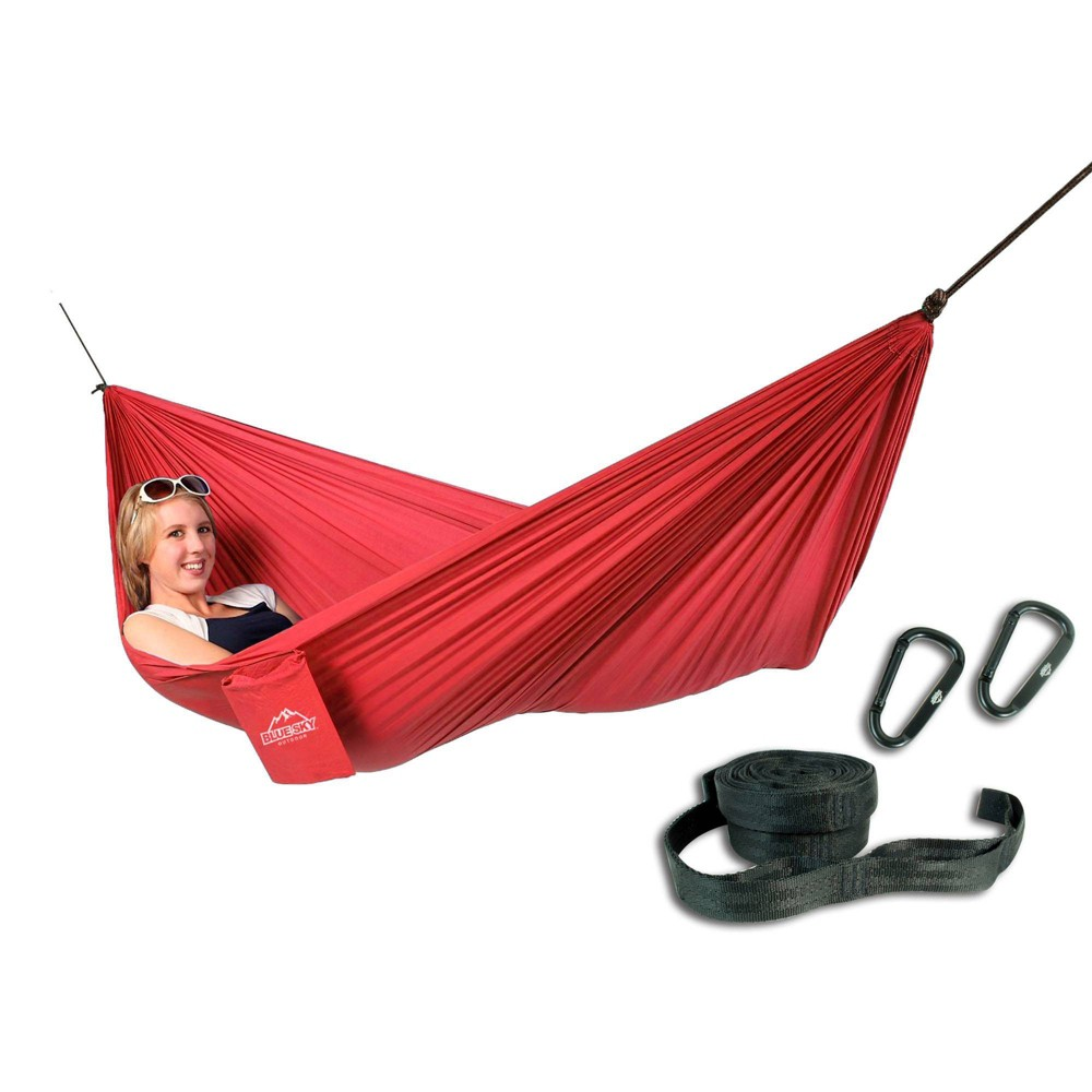 Image of Blue Sky Single Ultralight Hammock with Tree Straps - Red