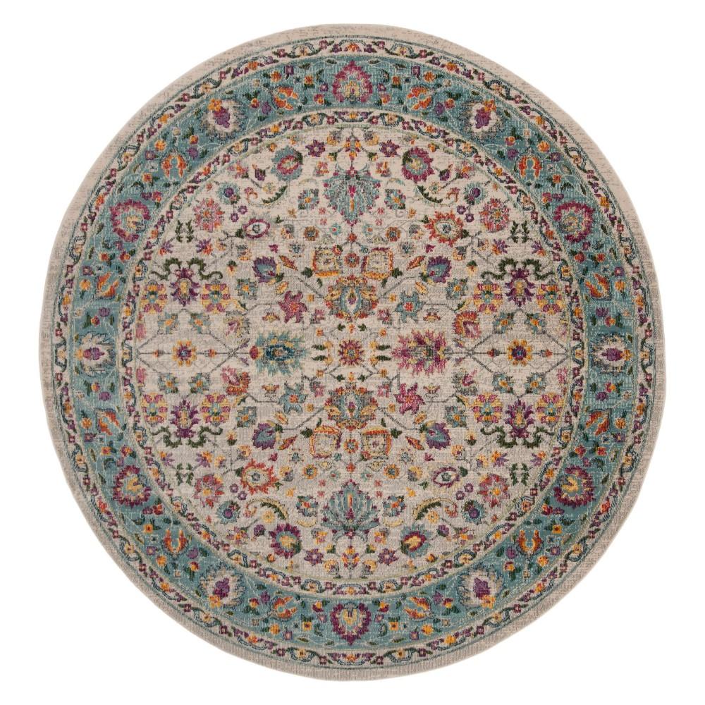 6'7 Floral Round Area Rug Cream - Safavieh, Ivory/Multi-Colored