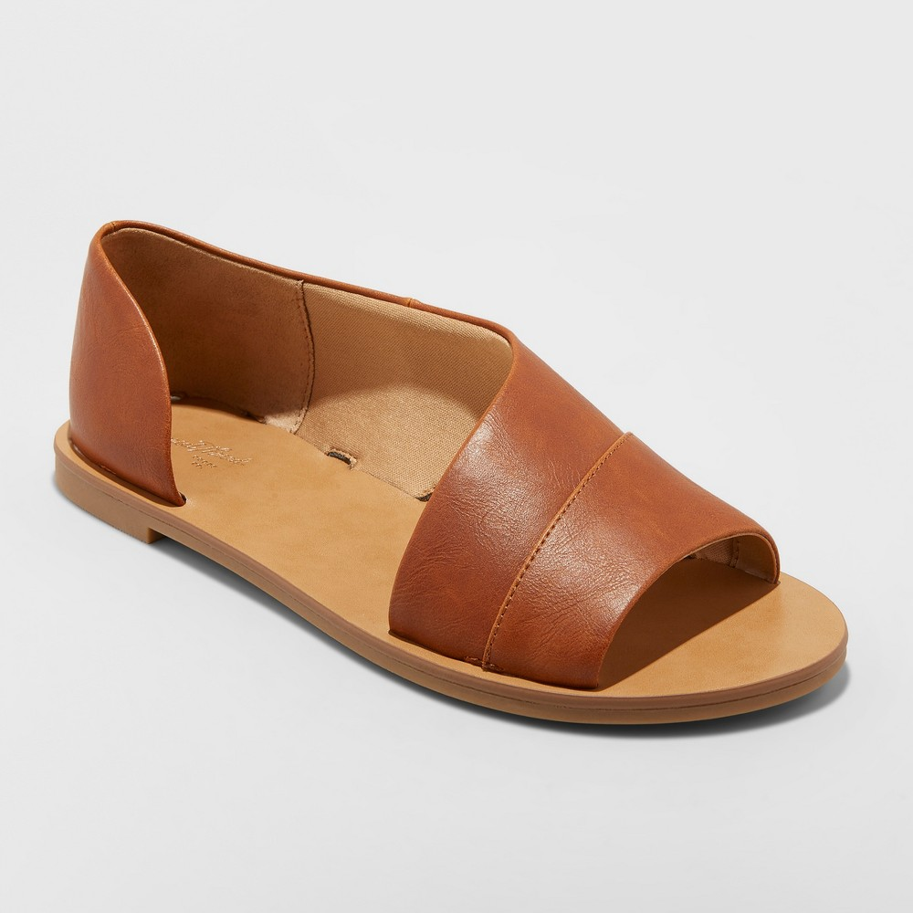 Women's Lissa Asymmetrical Slide Sandals - Universal Thread Cognac (Red) 6.5