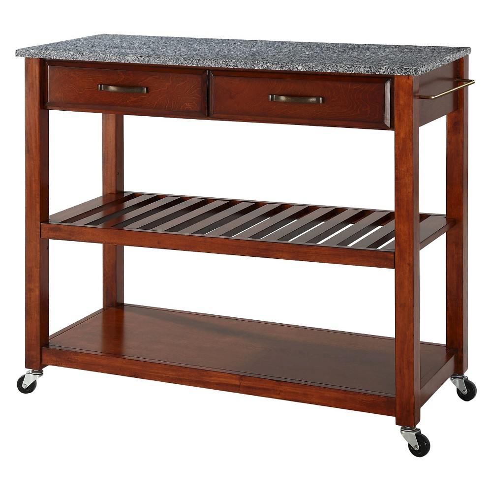 Solid Granite Top Kitchen Cart/Island With Optional Stool Storage - Classic Cherry (Red) - Crosley