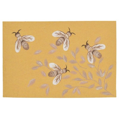 2'X3' Dragonfly Pressed Or Molded Accent Rug Gold - Liora Manne