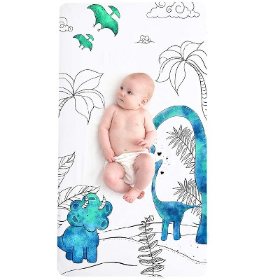 JumpOff Jo Fitted Crib Sheet - Cotton Crib Sheet for Standard Sized Crib Mattresses - Hypoallergenic and Breathable - 28 x 52 Inches - Tiny Dinosaur