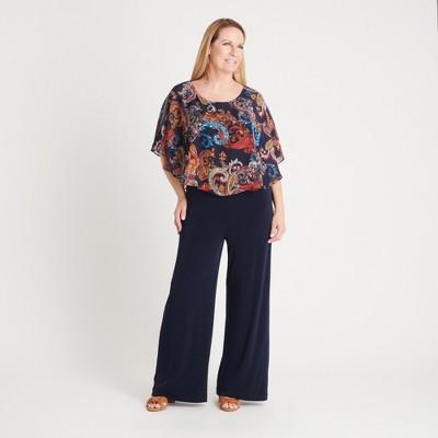 Women's Paisley Print Chiffon Capelet Jumpsuit - Connected Apparel