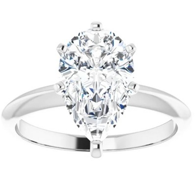 Pompeii3 3Ct Pear Moissanite Solitaire Engagement Ring 14k White Yellow or Rose Gold