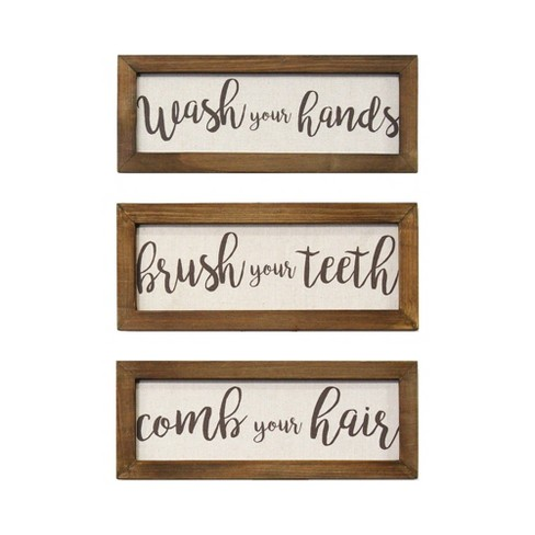 Set Of 3 Printed Linen Bathroom Rules Wall Art Stratton Home Decor