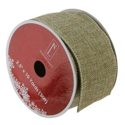 """Northlight Faded Green and Brown Burlap Christmas Wired Craft Ribbon 2.5"""" x 10 Yards"""