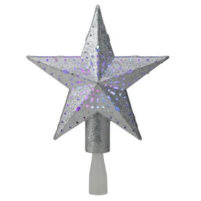 """Kurt S. Adler 9"""" LED Lighted Sliver Glitter Star Christmas Tree Topper - Multi Lights"""