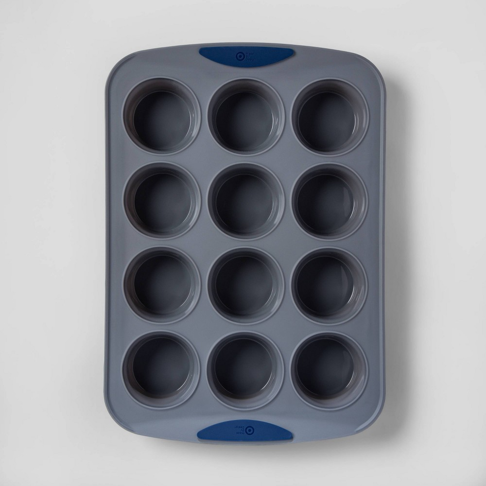 Image of 12ct Silicone Muffin Pan - Made By Design , Gray