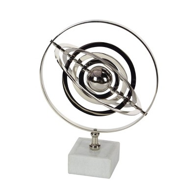 """18"""" x 12"""" Traditional Silver and Black Armillary Sphere Silver - Olivia & May"""