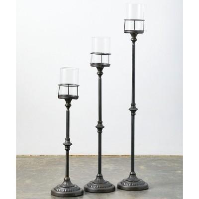 """Sullivans Set of 3 Floor Candle Holders 47""""H, 39""""H, 31""""H & 7""""H Black"""