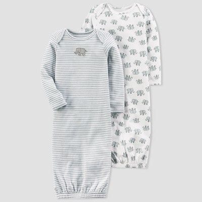 Baby 2pk Elephant Gown Set - little planet™ organic by carter's® Gray 3M