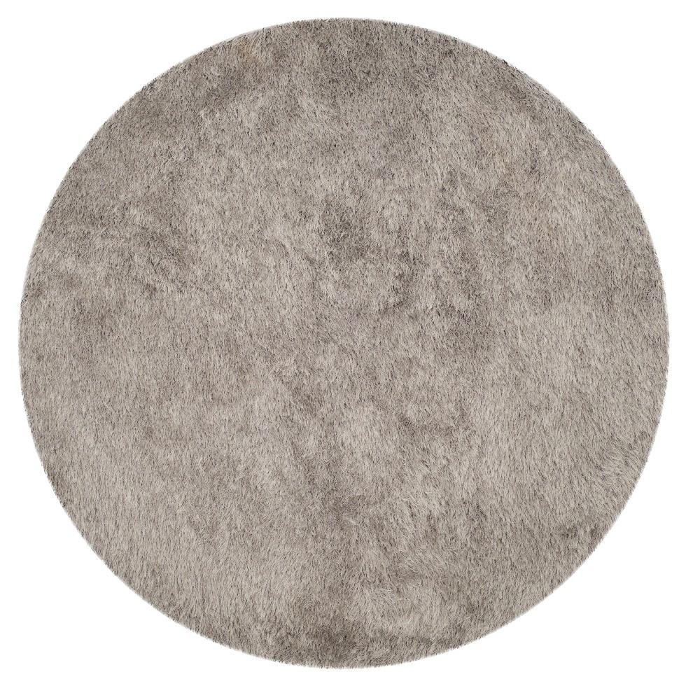 Gray Solid Shag/Flokati Tufted Round Area Rug 8' - Safavieh, Silver