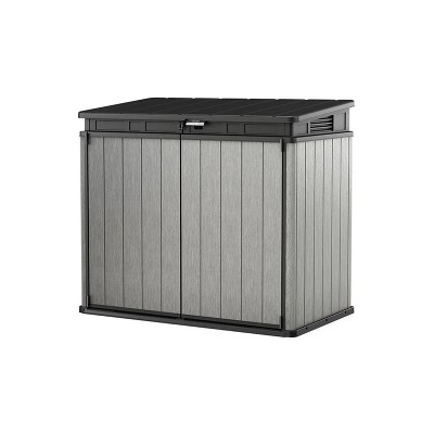 Keter KET-237831 Elite Store Outdoor Storage Shed For Tools Garbage Cans Patio Furniture Bicycles, Hydraulic Lid, 4.6 by 2.7 Foot, Deco Grey