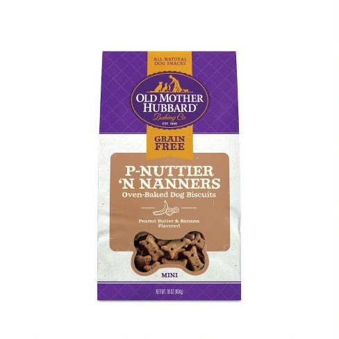 Old Mother Hubbard Grain Free Crunchy P-Nuttier 'N Nanners Biscuits Mini Oven Baked Dog Treats – 16oz - image 1 of 5