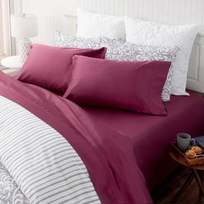 Queen Solid Cotton Sheet Set Marsala - Martha Stewart