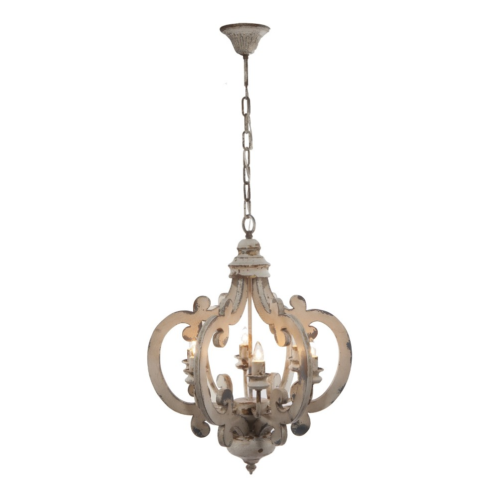 24 34 Ceiling 6 Light Chandelier Distressed White A 38 B Home