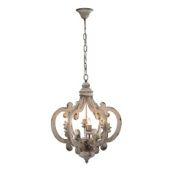Ceiling 6 Light Chandelier White - A&B Home