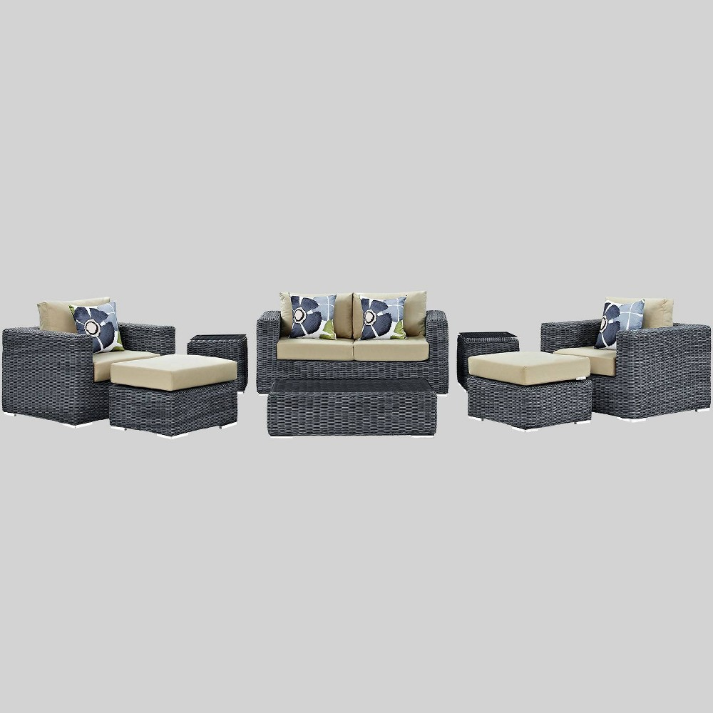 Prime Summon 8Pc Outdoor Patio Sunbrella Sectional Set Beige Modway Bralicious Painted Fabric Chair Ideas Braliciousco