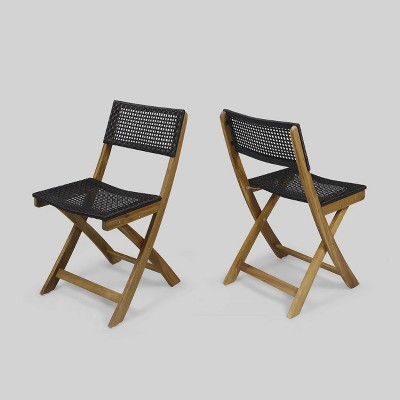 2pk Hillside Acacia Wood Patio Bistro Chair - Christopher Knight Home