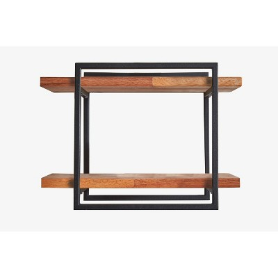 "12"" Square Wood Shelving Wall Display Black/Brown - Ore International"