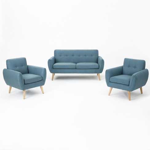 Incredible 3Pc Josephine Mid Century Petite Sofa And Club Chair Set Christopher Knight Home Andrewgaddart Wooden Chair Designs For Living Room Andrewgaddartcom