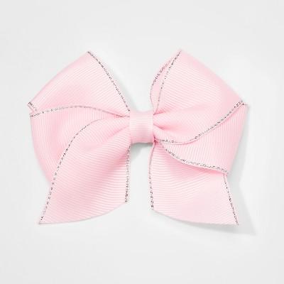 Girls' Lurex Edge Bow Salon Clip - Cat & Jack™ Pink