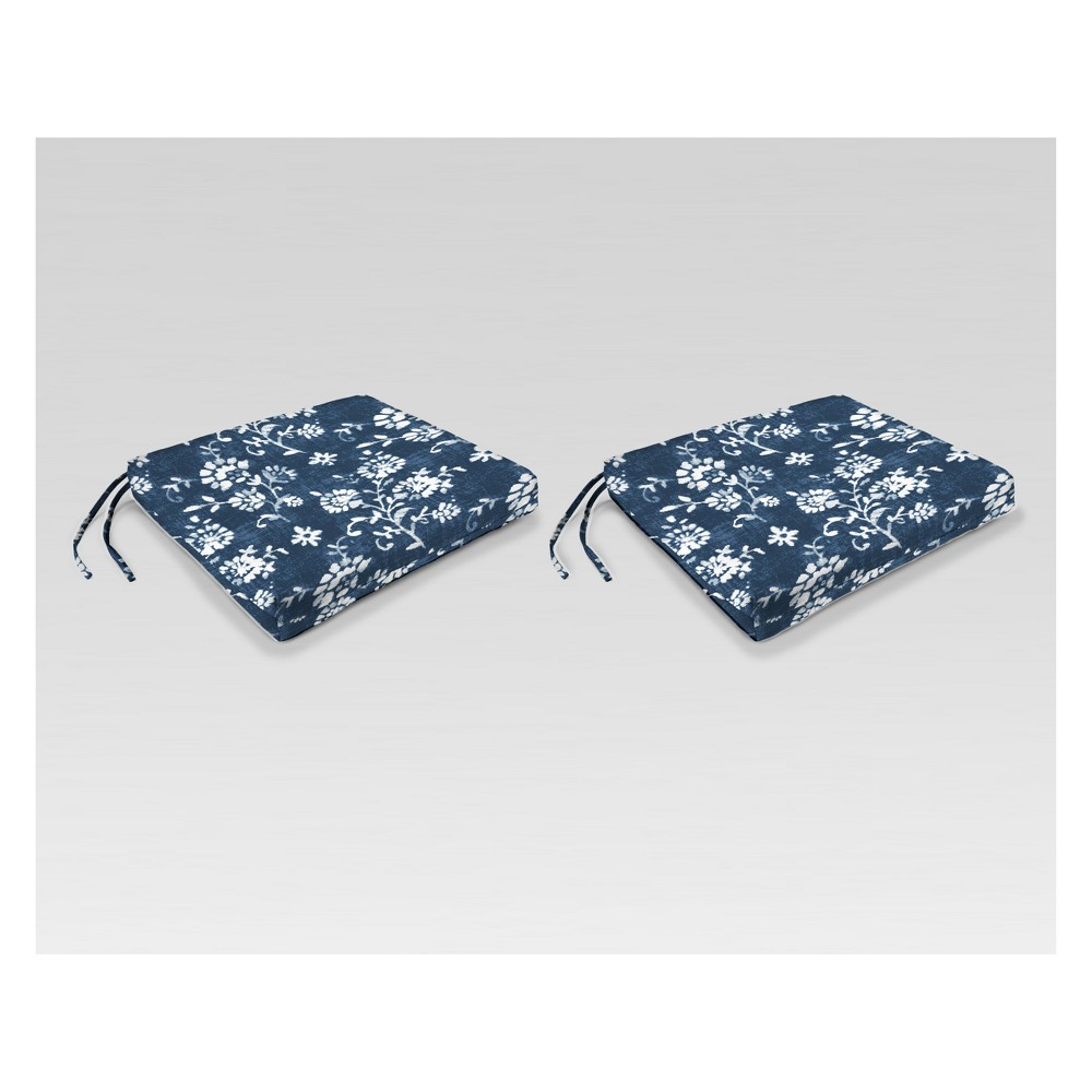 Outdoor Set of 2 French Edge Seat Cushions - Navy Floral - Jordan Manufacturing