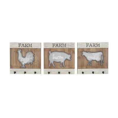 "Set of 3 16"" x 16"" Farmhouse Iron and Wood Animal Wall Hooks - Olivia & May"