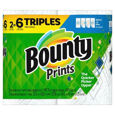 Bounty Select-A-Size Printed Paper Towels - 2 Triple Rolls